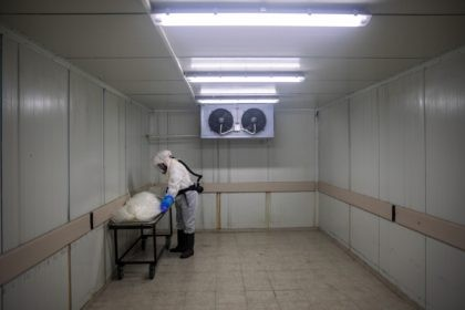 "A worker from ""Hevra Kadisha,"" Israel's official Jewish burial society, prepares a body before a funeral procession at a special morgue for COVID-19 victims in the central Israeli city of Holon, near Tel Aviv, Wednesday, Sept. 23, 2020. With Israel facing one of the world's worst outbreaks, burial workers have …"
