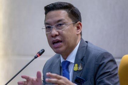 In this Aug. 26, 2020, file photo, Thai Minister of Digital Economy and Society, Buddhipongse Punnakanta gestures during a press conference discussing the government's decision to request Facebook to block an account in Bangkok, Thailand. Thailand's government lodged complaints with police Thursday, Sept. 24, against Facebook and Twitter, alleging they …