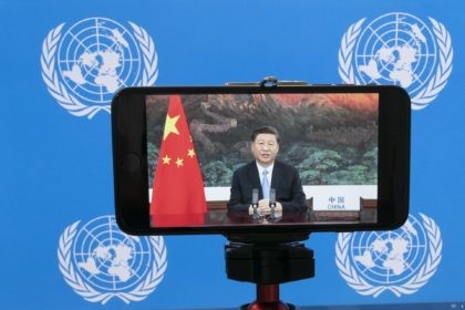 "Chinese President Xi Jinping is seen on a video screen remotely addressing the 75th session of the United Nations General Assembly, Tuesday, Sept. 22, 2020, at U.N. headquarters. This year's annual gathering of world leaders at U.N. headquarters will be almost entirely ""virtual."" Leaders have been asked to pre-record their …"