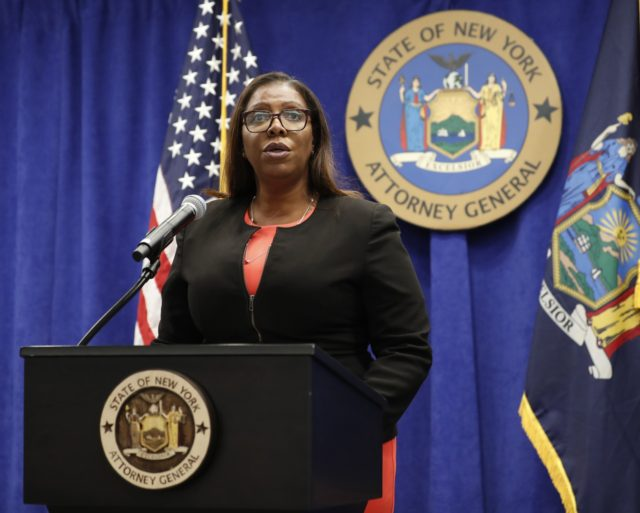 In this Aug. 6, 2020 file photo, New York State Attorney General Letitia James addresses the media during a news conference in New York. On Friday, Sept. 25, 2020, James recommended the New York Police Department get out of the business of routine traffic enforcement, a radical change that she …