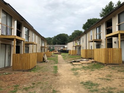 Buildings at Hunter Oaks Apartments undergo renovations on Tuesday. Sept. 22, 2020, in Memphis, Tenn. Owners of the apartment complex are among seven landlords who manage or own more than 5,000 rental units and have filed a lawsuit claiming that a national eviction moratorium has not only placed them under …
