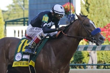 In this Saturday, Sept. 5, 2020, file photo, Authentic, ridden by jockey John Velazquez, heads to the finish line to win the 146th running of the Kentucky Derby at Churchill Downs in Louisville, Ky. The Kentucky Derby winner is the morning line favorite at 9-5, and drew the No. 9 …