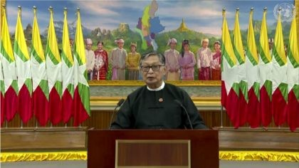 In this image made from UNTV video, Kyaw Tint Swe, Minister for the Office of the State Counsellor of Myanmar, speaks in a pre-recorded message which was played during the 75th session of the United Nations General Assembly, Tuesday, Sept. 29, 2020, at U.N. headquarters in New York. (UNTV via …