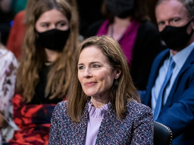 WASHINGTON, DC - OCTOBER 14: Supreme Court nominee Judge Amy Coney Barrett testifies before the Senate Judiciary Committee on the third day of her Supreme Court confirmation hearing on Capitol Hill on October 14, 2020 in Washington, DC. Barrett was nominated by President Donald Trump to fill the vacancy left …