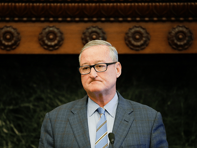 Philadelphia Mayor Jim Kenney speaks with members of the media during a news conference at at City Hall in Philadelphia, Wednesday, Aug. 21, 2019. Philadelphia's acting Police Commissioner Christine Coulter will be filling in after former police commissioner Richard Ross resigned on Tuesday, Aug. 20, 2019. (AP Photo/Matt Rourke)