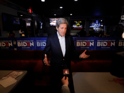 Former Secretary of State John Kerry speaks to supporters at a debate watch party as he campaigns for Democratic presidential candidate former Vice President Joe Biden, in Columbia, S.C., Wednesday, Feb. 19, 2020. (AP Photo/Gerald Herbert)