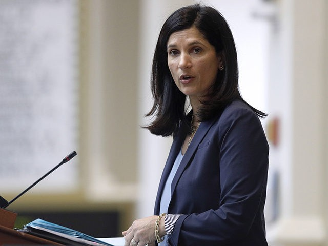 FILE - In this March 17, 2020, file photo, House speaker Sara Gideon, D-Freeport, conducts business in the House Chamber at the State House in Augusta, Maine. Gideon is one of three Democrat candidates seeking the party's nomination for U.S. Senate in the July 14 primary. (AP Photo/Robert F. Bukaty, …