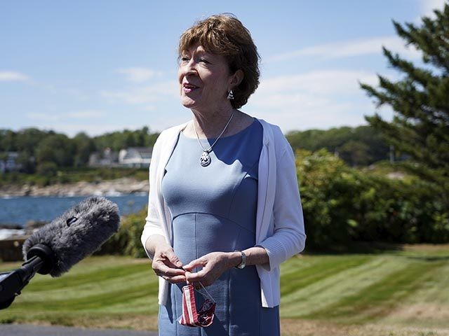 Sen. Susan Collins, R-Maine speaks after having lunch with former President George W. Bush and Laura Bush, Friday, Aug. 21, 2020, in Kennebunkport, Maine. (AP Photo/Mary Schwalm)