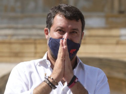 Former Interior Minister and Leader of League Party Matteo Salvini attends a party rally in San Giovanni La Punta, near Catania, Sicily, Fridayday, Oct. 12, 2020. Salvini next Saturday, Oct. 3 will be attending a preliminary hearing in Catania for allegedly blocking 131 migrants on board of a coast guard …