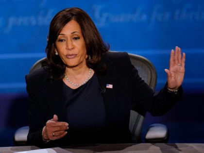 Democratic vice presidential candidate Sen. Kamala Harris, D-Calif., responds to Vice President Mike Pence during the vice presidential debate Wednesday, Oct. 7, 2020, at Kingsbury Hall on the campus of the University of Utah in Salt Lake City. (AP Photo/Julio Cortez)