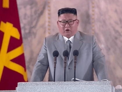 "In this image made from video broadcasted by North Korea's KRT, North Korean leader Kim Jong Un delivers a speech during a ceremony to celebrate the 75th anniversary of the country's ruling party in Pyongyang Saturday, Oct. 10, 2020. Kim warned Saturday that his country would ""fully mobilize"" its nuclear …"