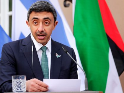 UAE Foreign Minister Sheikh Abdullah bin Zayed al-Nahyan speaks during a news conference with his Israeli counterpart and German Foreign Minister following their historic meeting at Villa Borsig in Berlin, on October 6, 2020. (Photo by HANNIBAL HANSCHKE / POOL / AFP) (Photo by HANNIBAL HANSCHKE/POOL/AFP via Getty Images)