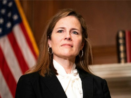 Judge Amy Coney Barrett, President Donald Trumps nominee for Supreme Court, poses for a photo before a meeting with Senator Steve Daines, R-MT, at the United States Capitol Building in Washington, DC on October 1, 2020. (Photo by Anna Moneymaker / POOL / AFP) (Photo by ANNA MONEYMAKER/POOL/AFP via Getty …