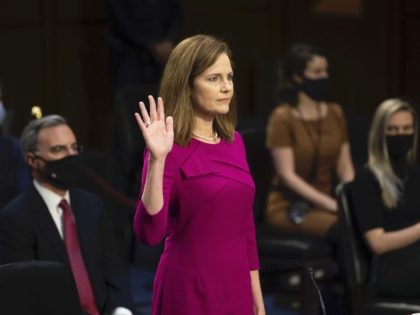Amy Coney Barrett swears in (Caroline Brehman / CQ Roll Call / Getty)