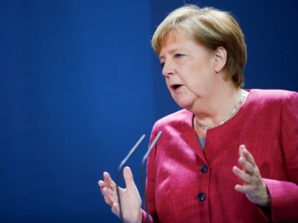 "German Chancellor Angela Merkel gives a statement following her video conference with officials from Germany's largest cities in Germany on Covid-19, on October 9, 2020 at the Chancellery in Berlin - Germany is experiencing a ""worrying jump"" in coronavirus cases, Germany's Health Minister had said the day before, as the …"