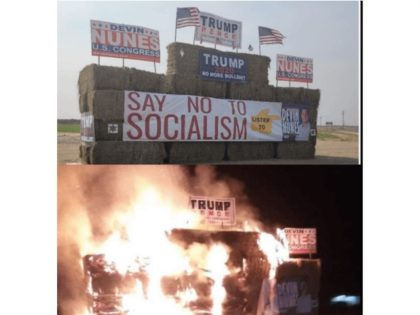 Arsonist Burns Down Farmers' Trump:Nunes Signage