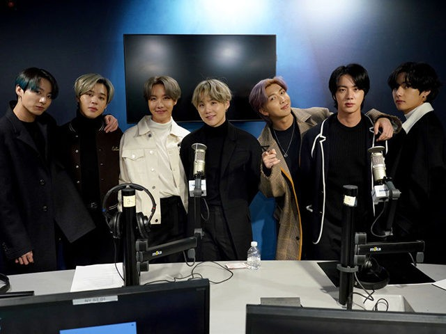 NEW YORK, NEW YORK - FEBRUARY 21: K-pop boy band BTS visit the SiriusXM Studios on February 21, 2020 in New York City. (Photo by Cindy Ord/Getty Images for SiriusXM)