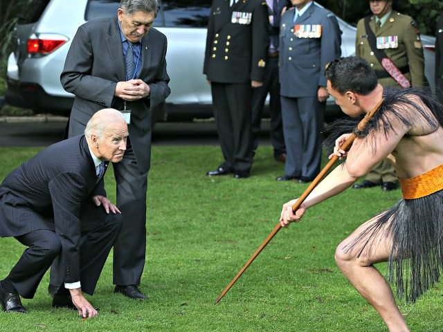 AUCKLAND, NEW ZEALAND - JULY 21: US Vice-President Joe Biden (L) with Kaumatua Lewis Moeau (R) experiences a traditional Maori welcome at Government House on July 21, 2016 in Auckland, New Zealand. Biden is visiting New Zealand on a two day trip which includes meetings community and business leaders, a …