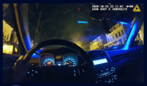 Body-cam video released by DC police shows the vehicle's speed as officers followed Karod Hylton. (Video Screenshot/DC Police)