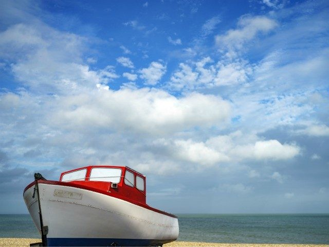 DEAL, UNITED KINGDOM - SEPTEMBER 03: A fishing boat sits on the shingle beach on September 03, 2020 in Deal, United Kingdom. (Photo by Christopher Furlong/Getty Images)