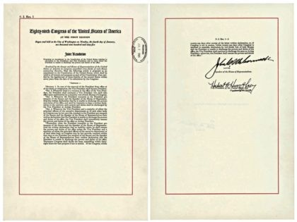 """This image shows a copy of the 25th Amendment, which allows the vice president to take over if the commander in chief is """"unable to discharge the powers and duties of his office."""" A senior administration official referenced the amendment on Wednesday, Sept. 5, 2018, in an unsigned opinion piece …"""