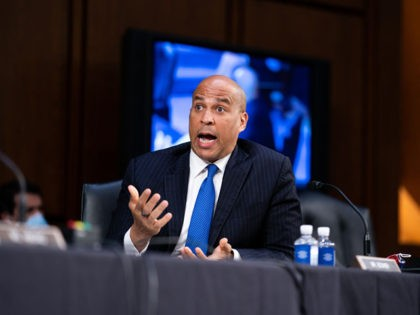 WASHINGTON, DC - OCTOBER 15: Senator Cory Booker (D-NJ) speaks during a business meeting portion on the fourth day of the Senate Judiciary Committee on the confirmation hearing for Supreme Court nominee Amy Coney Barrett, on Capitol Hill October 15, 2020 in Washington, DC. With less than a month until …