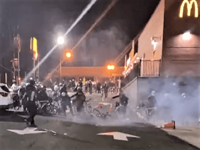 Protesters in DC throw fireworks injuring multiple police officers.