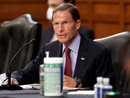 WASHINGTON, DC – OCTOBER 12: U.S. Sen. Richard Blumenthal (D-CT) speaks during a confirmation hearing for Supreme Court nominee Amy Coney Barrett before the Senate Judiciary Committee on Capitol Hill on October 12, 2020 in Washington, DC. Barrett was nominated by President Donald Trump to fill the vacancy left by …
