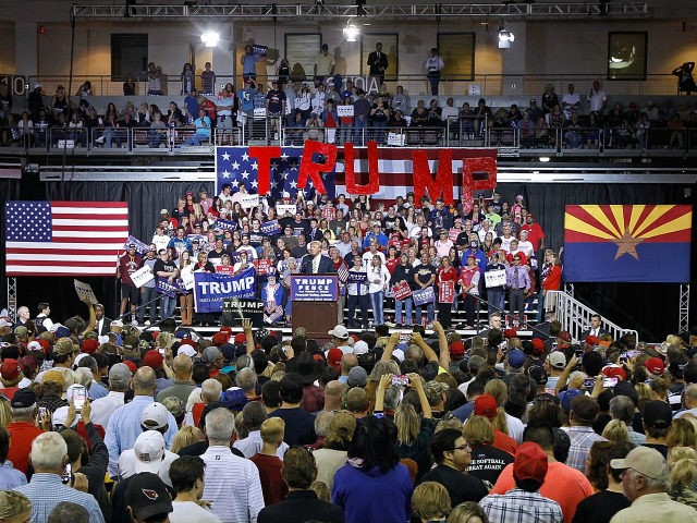 Republican presidential nominee Donald Trump speaks to a crowd of supporters during a campaign rally on October 4, 2016 in Prescott Valley, Arizona. (Photo by Ralph Freso/Getty Images)