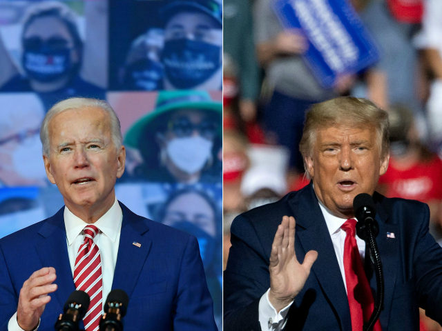 This combination of pictures created on October 30, 2020 shows Democratic presidential nominee and former Vice President Joe Biden delivers remarks on Covid-19 at The Queen theater on October 23, 2020 in Wilmington, Delaware and US President Donald Trump addresses supporters during a Make America Great Again rally as he …