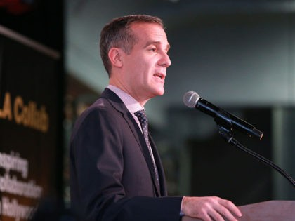 "LOS ANGELES, CALIFORNIA - JANUARY 13: Eric Garcetti, Mayor of Los Angeles, speaks to the guest during Non Profit Launch Of ""LA Collab"" With Mayor Garcetti at The Boyle Heights Arts Conservatory on January 13, 2020 in Los Angeles, California. (Photo by Leon Bennett/Getty Images)"
