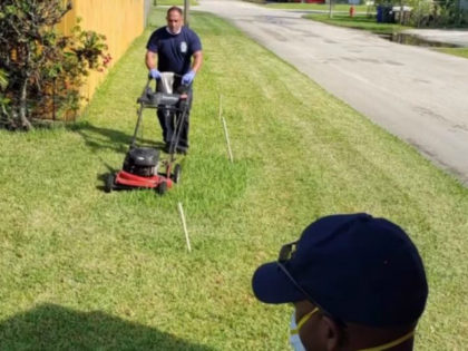 Three firefighters mowed the lawn of Prince Pinkney, an elderly Army veteran, after he experienced heat exhaustion in Fort Lauderdale, Florida.