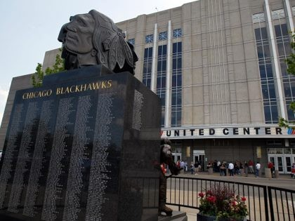 CHICAGO - MAY 23: The 'badge of honor' statue is seen outside the United Center before Game Four of the Western Conference Finals during the 2010 NHL Stanley Cup Playoffs between the Chicago Blackhawks and the San Jose Sharks on May 23, 2010 in Chicago, Illinois. (Photo by Jonathan Daniel/Getty …