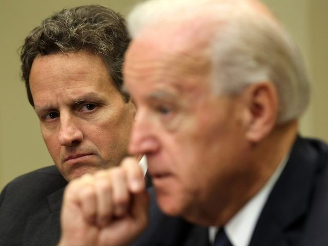WASHINGTON, DC - DECEMBER 03: U.S. Vice President Joseph Biden (R) speaks to the media as he meets with Secretary of the Treasury Timothy Geithner in the Roosevelt Room of the White House December 3, 2010 in Washington, DC. Biden met with Geithner for an update on the current tax …