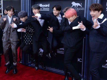 South Korean boy band BTS attends the 2019 Billboard Music Awards at the MGM Grand Garden Arena on May 1, 2019, in Las Vegas, Nevada. (Photo by Bridget BENNETT / AFP) (Photo credit should read BRIDGET BENNETT/AFP via Getty Images)