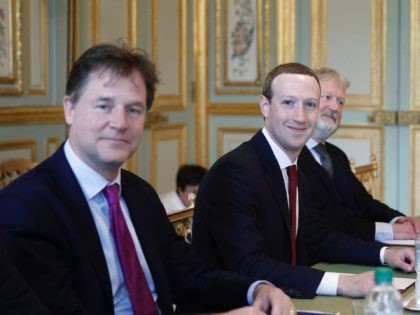 CEO and co-founder of Facebook Mark Zuckerberg poses next to Facebook head of global policy communications and former UK deputy prime minister Nick Clegg (L) prior to a meeting with French President at the Elysee Palace in Paris, on May 10, 2019. (Photo by Yoan VALAT / EPA POOL / …