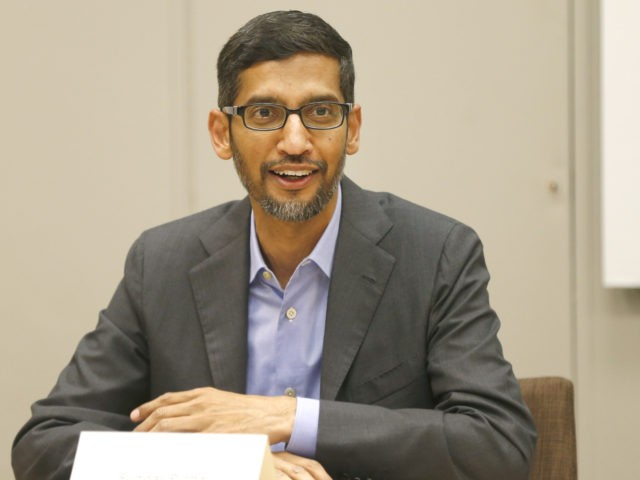 DALLAS, TX - OCTOBER 03: CEO of Google, Sundar Pichai, speaks during a roundtable discussion focusing on assisting American workers for the changing economy at El Centro community college on October 3, 2019 in Dallas, Texas. Google announced that it is committing to a White House initiative designed to get …