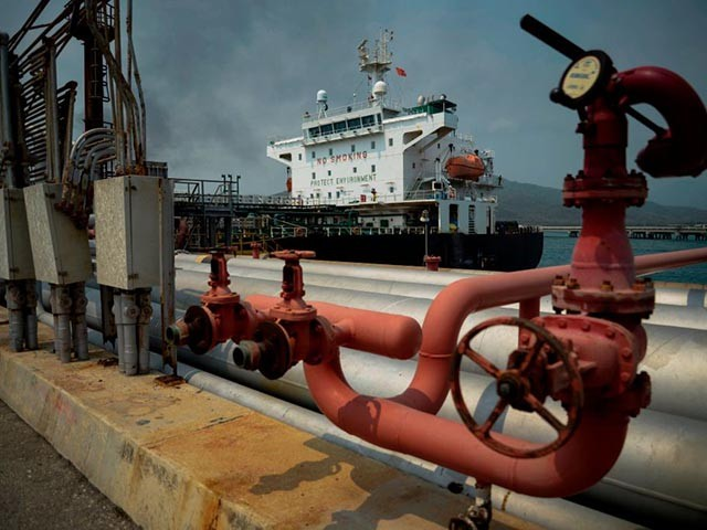 The Iranian-flagged oil tanker Fortune is docked at the El Palito refinery after its arrival to Puerto Cabello in the northern state of Carabobo, Venezuela, on May 25, 2020. - The first of five Iranian tankers carrying much-needed gasoline and oil derivatives docked in Venezuela on Monday, Caracas announced amid concern in Washington over the burgeoning relationship between countries it sees as international pariahs. (Photo by - / AFP) (Photo by -/AFP via Getty Images)