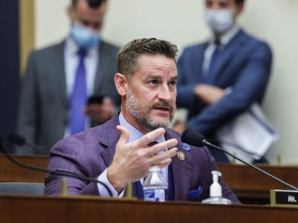 "Congressman Greg Steube, R-FL, speaks during the House Judiciary Subcommittee on Antitrust, Commercial and Administrative Law hearing on ""Online Platforms and Market Power"" in the Rayburn House office Building on Capitol Hill in Washington, DC on July 29, 2020. (Photo by Graeme JENNINGS / POOL / AFP) (Photo by GRAEME …"