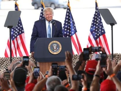 YUMA, AZ - AUGUST 18: U.S. President Donald Trump speaks during a campaign rally at The Defense Contractor Complex on August 18, 2020 in Yuma, Arizona. Trump excoriated presumptive Democratic nominee former Vice President Joe Biden as being soft on illegal immigration as Democrats hold their convention this week remotely …