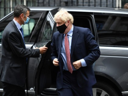 LONDON, ENGLAND - OCTOBER 06: British Prime Minister Boris Johnson arrives at Downing Street after delivering his Leader's Speech to the Conservative Party Conference on October 6, 2020 in London, England. Due to Covid-19 restrictions the political party conferences are being held virtually this year. In his leader's speech Johnson …
