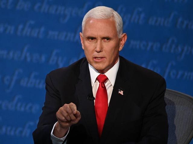 US Vice President Mike Pence speaks during the vice presidential debate in Kingsbury Hall at the University of Utah on October 7, 2020, in Salt Lake City, Utah. (Photo by Eric BARADAT / AFP) (Photo by ERIC BARADAT/AFP via Getty Images)