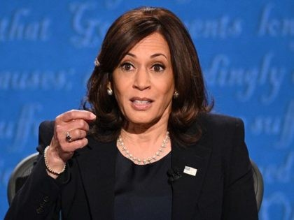 US Democratic vice presidential nominee and Senator from California, Kamala Harris gestures as she speaks during the vice presidential debate in Kingsbury Hall at the University of Utah on October 7, 2020, in Salt Lake City, Utah. (Photo by Robyn Beck / AFP) (Photo by ROBYN BECK/AFP via Getty Images)