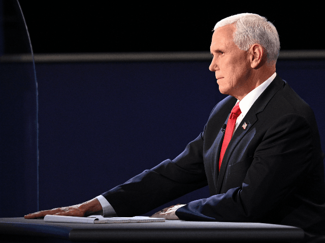 US Vice President Mike Pence participates in the vice presidential debate in Kingsbury Hall at the University of Utah on October 7, 2020, in Salt Lake City, Utah. (Photo by Robyn Beck / AFP) (Photo by ROBYN BECK/AFP via Getty Images)