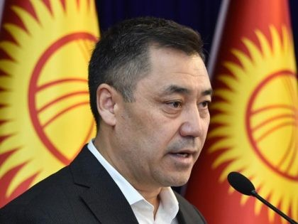 Candidate for the post of prime minister Sadyr Japarov speaks at an extraordinary session of the Kyrgyz Parliament at the Ala-Archa state residence in Bishkek on October 10, 2020. (Photo by VYACHESLAV OSELEDKO / AFP) (Photo by VYACHESLAV OSELEDKO/AFP via Getty Images)