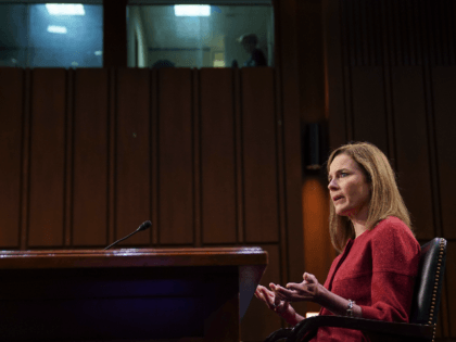 Amy Coney Barrett, U.S. President Donald Trump's nominee for associate justice of the U.S. Supreme Court, speaks during a Senate Judiciary Committee confirmation hearing on October 13, 2020 in Washington, DC. Barrett was nominated by President Donald Trump to fill the vacancy left by Justice Ruth Bader Ginsburg who passed …