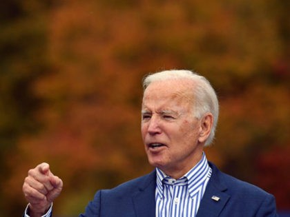 Democratic presidential candidate Joe Biden speaks at a drive-in rally on the Bucks County Community College's Lower Bucks campus in Bristol, Pennsylvania, on October 24, 2020. (Photo by ANGELA WEISS / AFP) (Photo by ANGELA WEISS/AFP via Getty Images)