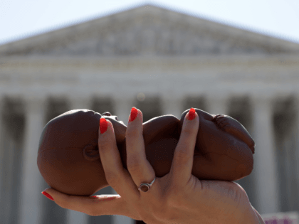 A pro-life activist holds a model fetus during a demonstration in front of the U.S. Supreme Court June 29, 2020 in Washington, DC. The Supreme Court has ruled today, in a 5-4 decision, a Louisiana law that required abortion doctors need admitting privileges to nearby hospitals unconstitutional. (Photo by Alex …