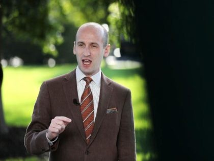 WASHINGTON, DC - AUGUST 20: White House Senior Policy Advisor Stephen Miller is interviewed on FOX News outside the West Wing of the White House August 20, 2020 in Washington, DC. Miller said that if Democrats are elected to Congress and the White House in November then all cities will …