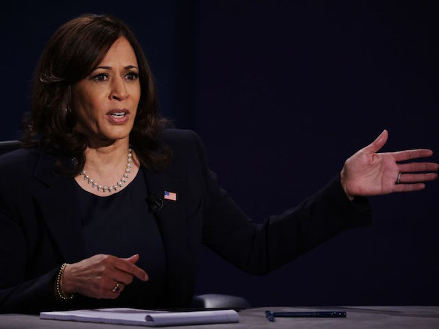 SALT LAKE CITY, UTAH - OCTOBER 07: Democratic vice presidential nominee Sen. Kamala Harris (D-CA) participates in the vice presidential debate against U.S. Vice President Mike Pence at the University of Utah on October 7, 2020 in Salt Lake City, Utah. The vice presidential candidates only meet once to debate …
